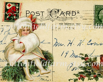 Victorian Girl in White With Birds on Vintage Postcard Digital Sheet C-398 Large Image  5 X 7 for Pillows, Aprons, Totes, Stockings, ECS