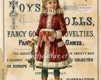 Victorian Girl in Red  With Ice Skates on Vintage Toy Ad Digital Sheet C-399 Large Image  5 X 7 for Pillows, Aprons, Totes, Stockings, ECS