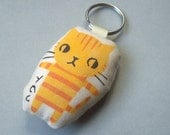 Yellow tabby cat keychain, purse charm, bag charm, keyring, stenciled and stuffed