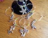 Wine Glass Charms / Seashore / beach Theme / silver and turquiose tones / set of 6