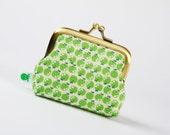 Metal frame coin purse - Chibi apples in green - Deep mum / Kawaii japanese fabric / emerald garden / teachers gift / back to school