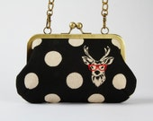 Party purse - Echino Buck in black - metal frame handbag with shoulder strap
