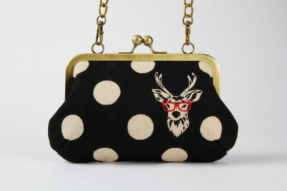 Party purse - Echino Buck in black - metal frame handbag with shoulder strap
