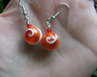 Orange and White Spiral Shell Filled with Glass & Orange Sparkle Earrings