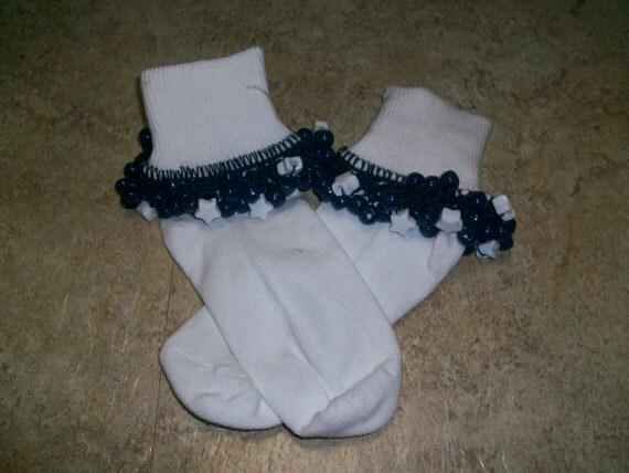 Navy Blue and White Stars School Uniform Beaded Socks fancy socks ruffle socks crochet socks baby socks girls socks dressy socks