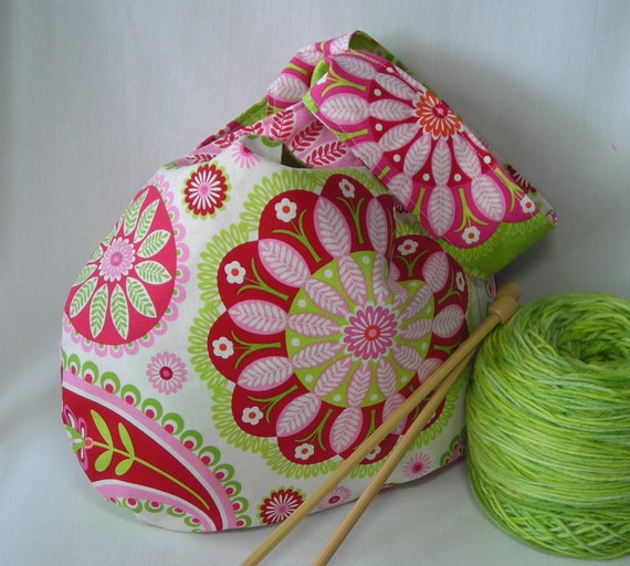 knit crochet reversible project bag - Not Just for Sock Knitters Bag - Michael Miller Bandana fabric pink - free knitting pattern included