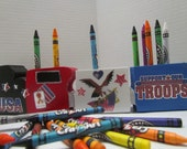 Crayon Holder~Train Crayon Holder~Support Our Troops Crayon Holder With Crayons~Military Crayon Holder~Gift for Military Child~Patriotic