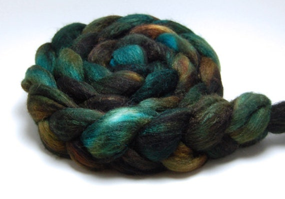 Aspen - 4 oz Brown Green Handpainted Merino Silk Wool Roving Top