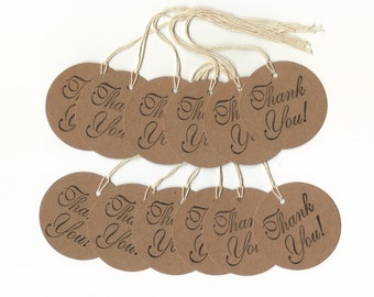 Kraft Brown Thank You Round Tags (set of 12) Two Inch