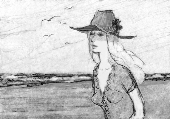 Pencil Drawing Beach Scene Girl Sketch Fine by ...
