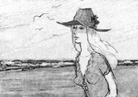 Pencil Drawing Beach Scene Girl Sketch Fine by ...