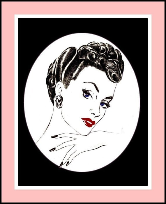 1950s- Glamour Hairstyles -Over 40 High Fashion Coiffures-Easy Instructions- Curling- Cutting -Setting -Finger Waves- 100 Pages- Ebook -PDF