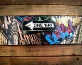 One way -Chrysler 5 avenue NYC original signed mixed media, graffiti, phototransfer, ready to hang street art on canvas