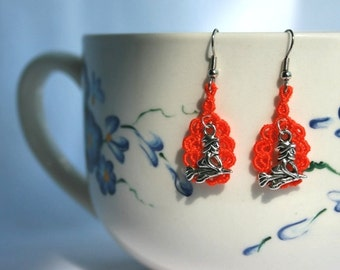 Halloween Jewelry EARRINGS - Open Round - Orange - Witch - Haunted - small