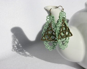 EARRINGS - Diamond Long - Mint Green - Celtic Knot - Triquetra - Free Standing Lace Embroidery - Long