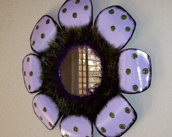 vinyl record mirror wall hanging home decor wall decor purple and green repurposed