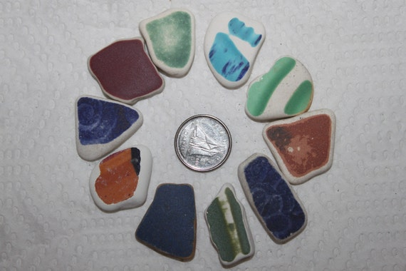 BEAUTIFUL BEACH GLASS Pottery Shards Top Drilled In Awesome Color and Size   zy385