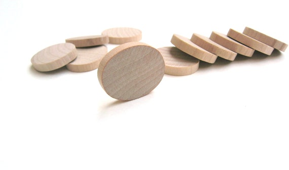"25 - 1 1/4"" Unfinished Wooden Ovals for Wood Crafts- 1 1/4 Inch (32 mm)"