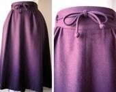 seventies secretary skirt in purple wool
