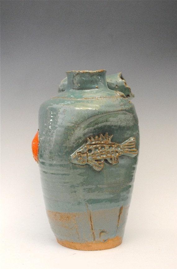 Ceramic Fish Vase - Feng Shui Pottery - Ceramic Fish Bottle