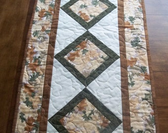 Oak Leaf Patchwork Table Runner Browns, Greens, Tans
