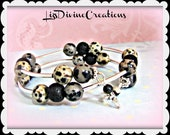 Dalmatian Jasper and Black Obsidian and Black Lava on Memory Wire Bracelet with Short Silver Space Bars