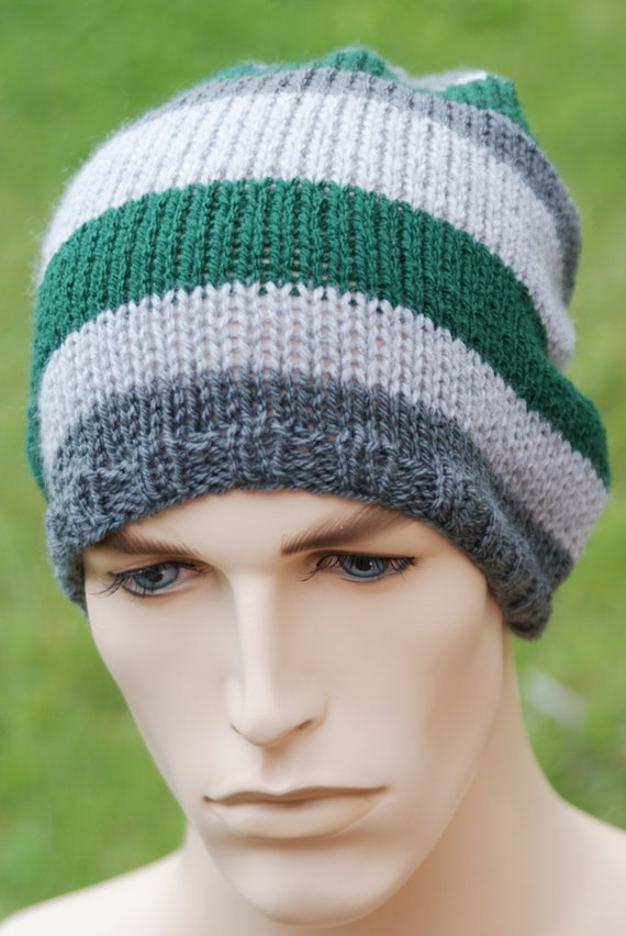 Mens Baggy Beanie Hat Knitted Green Gray Stripes
