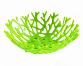 Coral Bowl in Colorful Lime Green Art Glass - Table Top Centerpiece