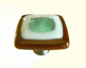 Seafoam Fused Glass Cabinet Knob - Custom Color