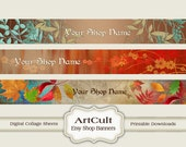 ETSY SHOP BANNERS, Set No17 - Multipurpose digital images/ Printable Download/ Digital Collage Sheets/ Bookmarks/ Paper Goods