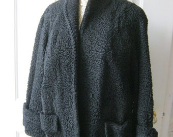 Vintage Black Persian lamb jacket, black Persian look short jacket, black jacket with wide cuff sleeves size M