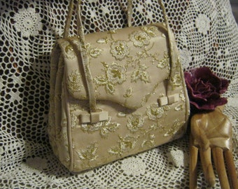 Vintage golden champagne silk embroidered brides bag, gold fabric and flowers evening bag, golden fabric Kelly bag by Magid