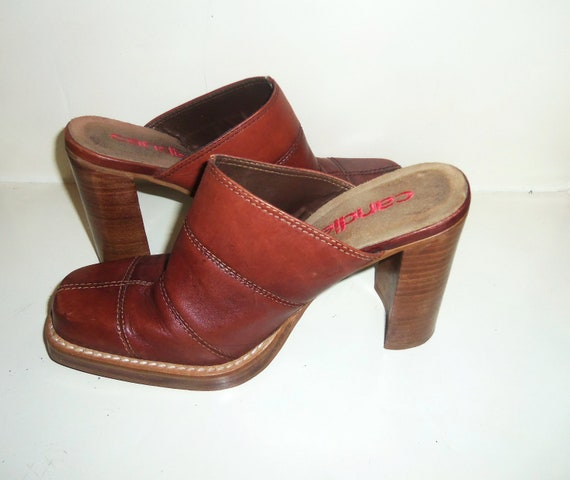 """Vintage Candies Shoes 4"""" high heel Clogs Patchwork Western Boot style w/ Square Toe size 8 1/2"""