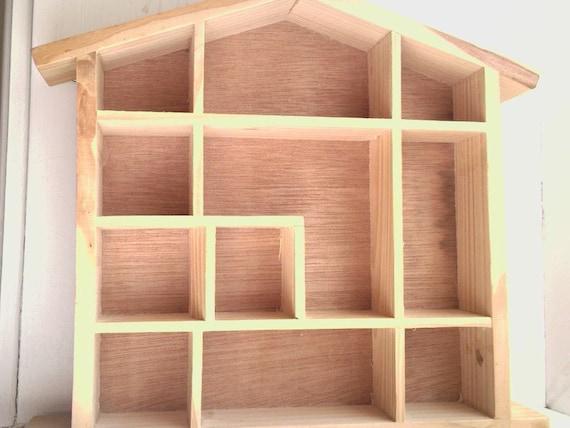 Dollhouse Shaped Shelf Unfinished Wood Wooden Miniatures