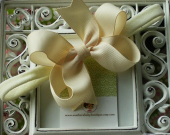 NEW ITEM----Boutique Baby Girl Toddler Hair bow Dainty Headband-----CREAM----Makes a Perfect Gift
