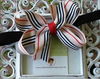 New Item----Boutique Baby Girl Toddler Hair Bow Dainty Headband-----MISS STRIPES---Tan Black Red