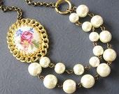 Bridal Jewelry Cameo Necklace Flower Jewelry Pearl Bridal Necklace Vintage Flower Necklace