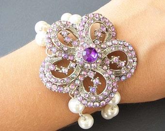 Bridal Bracelet Purple Wedding Jewelry Flower Rhinestone Bracelet Bridal Jewelry Wedding Bracelet