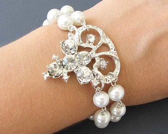 Bridal Bracelet Wedding Bracelet Bridal Jewelry Rhinestone Bracelet Wedding Jewelry Crystal Pearl Bracelet Bridesmaid Gift