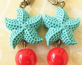 Starfish Earrings Starfish Jewelry Turquoise Earrings Coral Jewelry Dangle Earrings Beach Jewelry Bridesmaid Gift