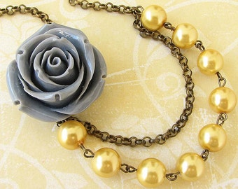 Flower Necklace Bridesmaid Jewelry Grey and Yellow Necklace Bridal Jewelry Grey Statement Necklace Wedding Necklace