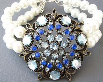 Wedding Bracelet Blue Sapphire Bracelet Bridal Jewelry Wedding Jewelry Cuff Bracelet Bridesmaid Gift Blue Jewelry
