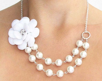 Bridesmaid Jewelry Bridal Jewelry Flower Necklace Pearl Necklace Statement Necklace