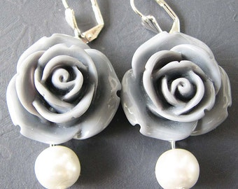 Flower Earrings Bridesmaid Jewelry Dangle Earrings Grey Jewelry Bridesmaid Gift Set Drop Earrings