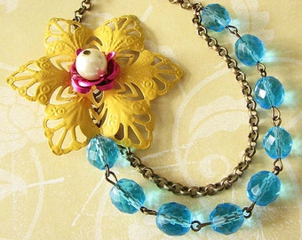 Statement Necklace Turquoise Jewelry Yellow Necklace Bridesmaid Jewelry Bib Necklace Gift For Her