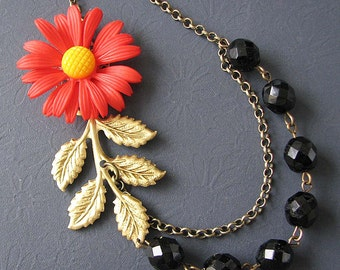 Flower Necklace Black Jewelry Gold Leaf Necklace Red Jewelry Bib Statement Necklace Gift For Her Beadwork