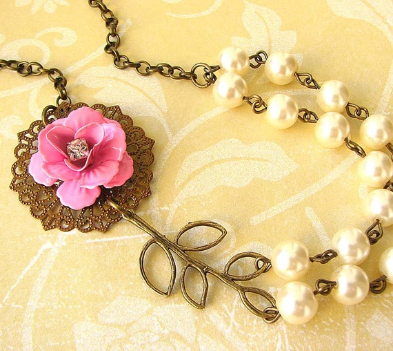 Bridesmaid Jewelry Beaded Necklace Leaf Necklace Flower Necklace Pink Jewelry Bib Necklace