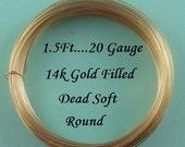 20 g gauge ga, 1.5 Ft 14k Gold Filled Round Wire, Dead Soft