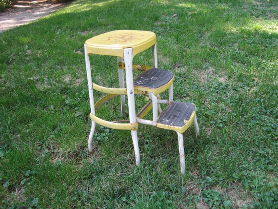 Vintage 1940s 50s Sturdy Yellow Fold Up Metal Step Stool