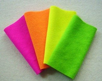 "Hand Dyed Wool Felt, FLUORESCENT Medley, Four 6.5"" x 16"" pieces, Perfect for Rug Hooking, Applique and Crafts, GLOWS Under Blacklight"